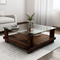 Induscraft Glass Coffee Table(Finish Color - Brown)