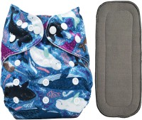 Bembika Cloth Diapers for Babies , Washable , Reusable, Sizes Adjustable with 5 Layer Bamboo Charcoal Insert (Whale)