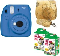 FUJIFILM Mini 9 Cobalt Blue with Maps Case and 40 Shots Instant Camera(Blue)