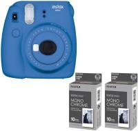 FUJIFILM mini 9 Cobalt Blue with 2 monochrome film ( 20 Shots ) Instant Camera(Blue)