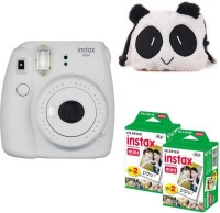 FUJIFILM Mini 9 Smokey White with panda Case and 40 Shots Instant Camera(White)