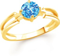 Divastri Stylish Blue Solitaire Alloy Cubic Zirconia Gold Plated Ring
