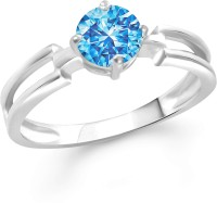Divastri Stylish Blue Solitaire Alloy Cubic Zirconia Rhodium Plated Ring