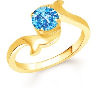 Divastri Leafy Blue Solitaire Alloy Cubic Zirconia Gold Plated Ring