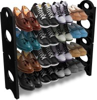 ADONYX COLLAPSIBLE MULTIUSE KITCHEN WARE/OFFICE/HOME USE Plastic Collapsible Shoe Stand(Black, 4 Shelves)