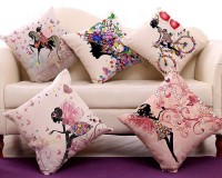 swasiya Printed Cushions & Pillows Cover(Pack of 5, 40 cm*40 cm, Multicolor)
