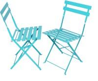 Magna Homewares Bistro Folding Metal Outdoor Chair(White, Set of 2)