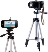 techobucks Portable Adjustable Lightweight Camera Stand Tripod-3110 With Three-Dimensional Head & Quick Release Plate For Video Cameras and mobile clip holder for Mobiles Smartphones Tripod(Silver, Black, Supports Up to 1500 g)