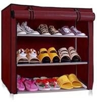 Ebee Metal Collapsible Shoe Stand(Maroon, 3 Shelves)