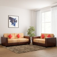 Kurlon Turin Leatherette 3 + 2 Brown Sofa Set