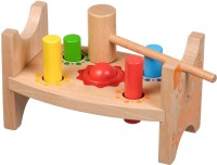 Toyshine 2 in 1 Wooden Classic Wooden Pounding Bench Toy for Toddlers, Pound & Tap w/Wood Hammer & Colored Pegs | Developmental & Sensory Toy for Boys & Girls