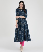 Mokshi Women Printed Anarkali Kurta(Blue)