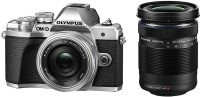 Olympus OM-D E-M10 MarkIII Mirrorless Camera Double Zoom kit 14-42mm EZ & 40-150mm(Silver)