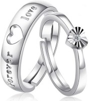 BlueShine Heart shape & forever love adjustable couple rings for lovers & Valentine ring Alloy Silver Plated Ring Set