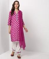Biba Checkered Kurti & Salwar(Stitched)
