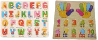 Nabhya Wooden ABCD & 1234 Learning Toys for Kids early learning Toys Pack Of 2 Tray(Multicolor)