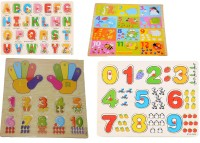 Nabhya Wooden Educational Board for Kids Pack Of 4 Trays ABCD And 123(Multicolor)