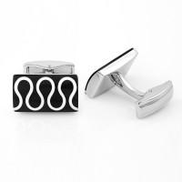 Nakabh Alloy Cufflink Set(Silver, Black)