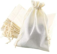 Lifekrafts Jute linen Potlis   Festival,Birthday & Party Favour Gift Bags for Return Gifts Bags   Pack of 10   Size 10 x 10 cms   Burlap   White Color  Pouch(White)