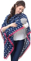 EasyFeed 3 IN 1 Blue iKat Print with Pink Lace Multipurpose Scarf / stole /nursing cover /breastfeeding cover / feeding apron / maternity cover / feeding cloak / breathable /poncho / made from cotton for pre and post pregnancy Feeding Cloak(3 in 1 Blue)