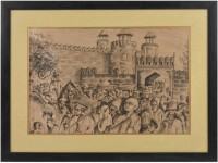 Procession of Indians at Red Fort Delhi lithograph In Frame