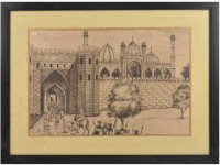 Looting by British Soilders at Red Fort Delhi lithograph In Frame