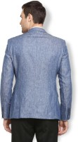 Van Heusen Solid Single Breasted Formal Men Blazer(Dark Blue)