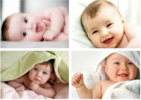 Cute Baby Combo Poster Set of 4 Poster | Smiling Baby Posters | Poster for Pregnant Women | New Born Baby Poster | baby poster | Baby Poster for Room decor (300GSM Thick Paper, Gloss Laminated) Paper Print(12 inch X 18 inch, Rolled)