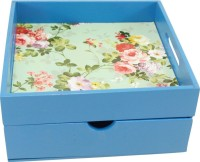Enigmatic Woodworks Tray With Drawer Solid Wood Box(Finish and Fabric Color - Blue, Pre-assembled)