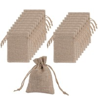 Lifekrafts Jute linen Potlis   Gift Bags for Return Gifts Bags   Pack of 20     Size 14* 9.5cm  Jute Linen,Burlap   Natural Jute Color  For Weddings , Functions, Parties, Baby Showers, Birthdays, Festivals or Any Occasion Pouch(Brown, Pack of: 20)