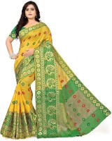 S.B Creation Woven Kanjivaram Cotton Saree(Yellow, Green)