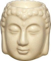 Bright Shop Ceramic aroma Air Freshner Tealight Fragrance Oil Burner Buddha Shape White Colour with 10 ML Lemon Flavour Oil. Diffuser(10 ml)