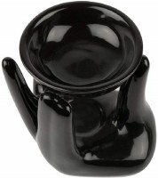Bright Shop Ceramic aroma Air Freshner Tealight Fragrance Oil Burner Hand Shape Black Colour with 10 ML Lemon Flavour Oil. Diffuser(10 ml)