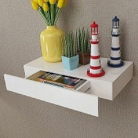 all crafts art drawer wall shelf MDF (Medium Density Fiber) Wall Shelf(Number of Shelves - 1, White)