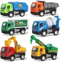 Dhawani Construction Vehicle Set , Plastic Construction Vehicle Set of Dumper, JCB, Cement Mixer, Transportruck, GarbageTruck, Container and Crain -Pack of 6 Pieces(Multicolor)