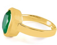 NIW 24K Gold Plated PaanchDhatu Panna Adjustable Emerald Yellow Gold ring