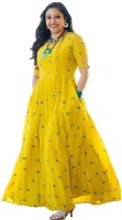 6TH AVENUE STREETWEAR Casual Embroidered Women Kurti(Yellow)