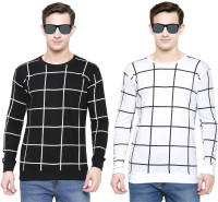 SCATCHITE Checkered Men's Round Neck Multicolor T-Shirt(Pack of 2)