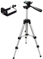 Stylin Tripod Portable and Adjustable Mobile & Camera Stand with three dimensional head and quick release plate movement Tripod Kit(Black, Silver, Supports Up to 3500 g)