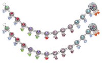 Charms Diva Silver Peacock Dangle With Colorful Studded Pearls Alloy Anklet(Pack of 2)