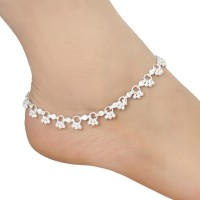 AanyaCentric Women and Girls Silver Plated White Metal Payal Anklets Indian Traditional Ethnic Fashion Foot Jewellery Artificial Alloy Anklet(Pack of 2)