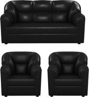 Westido Leatherette 3 + 1 + 1 Black Sofa Set