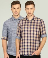 Pepe Jeans Men Checkered Casual Blue, Grey Shirt