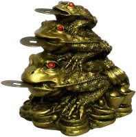 Aakriti Resin Feng Shui Money Frogs Three Legged Toads Hold Two Ignots on a Pile of Money for Wealth Luck Legged Money Frog on Bed of ingots Showpiece Gold Color Decorative Showpiece  -  8.5 cm(Polyresin)