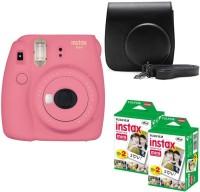 FUJIFILM Mini 9 Flamingo Pink With Black Case 40 Shots Instant Camera(Pink)