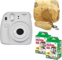 FUJIFILM Mini 9 smokey White With Map Case 40 Shots Instant Camera(White)