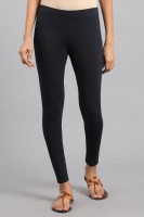 W Ankle Length  Legging(Blue, Solid)