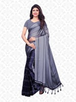 Divastri Striped Bollywood Pure Chiffon, Heavy Georgette Saree(Blue, Grey)
