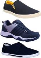 Chevit Combo Pack of 3 Casual & Sports Shoes (Sneakers & Loafers Shoes) Canvas Shoes For Men(Black, Navy)