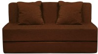 Aart Store Sofa Cum Bed 5x6 Feet Three Seater with Washable Cover and Two Pillows Brown Color Single Sofa Bed(Finish Color - Brown Mechanism Type - Fold Out)